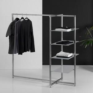 Perchero moderno con 4 estantes de cristal
